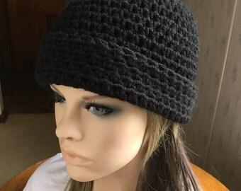 Black Hat Crochet Hat with Fold Up Brim Warm Winter Hat