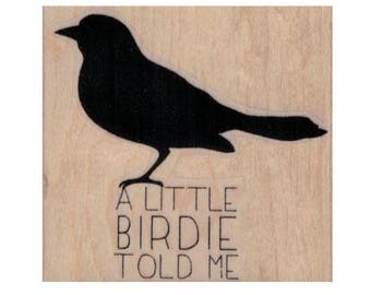 Rubber stamp A Little Birdie bird quote  child saying   stamping stamps  craft supplies number  20095