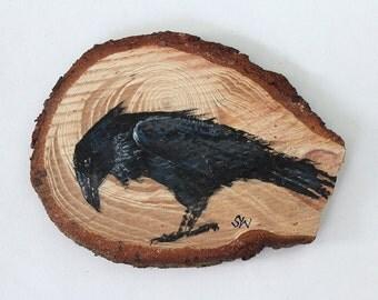 Raven No. 2 - Original Acrylic Art, Painted on Wood Slice