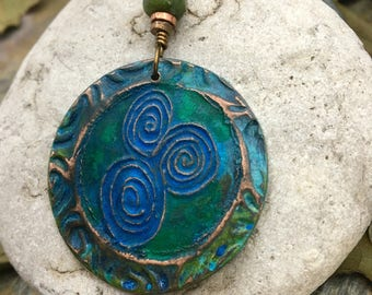 Newgrange Pendant, Connemara Marble, Verdigris Patina, Celtic Jewelry, Irish Jewelry, Copper Newgrange Necklace, Pagan Jewelry, Wicca, Druid