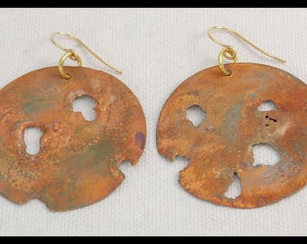 COPPER FIRE - Handforged Reticulated Copper Statement Earrings
