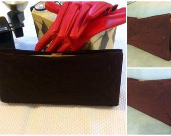 Vintage Bag Mid Century CORDE Style Evening Clutch Purse Dk Brown 50s Formal
