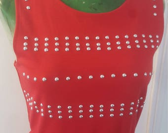Short Red Embellished Summer Dress sz S by IM.BUTTERFLYCREATIONS