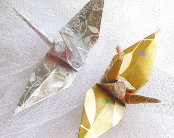 White Leaves Wedding Cake Topper Party Favor Peace Crane Origami Christmas Ornament Japanese Paper Place Card Holder Anniversary Bird Decor