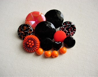 Pretty Lot of Various Vintage Orange and Black Glass Buttons