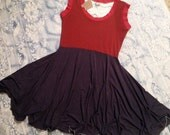 FREE SHIPPING! Adult Faux SUEDE Spicy Toast Large Red And Grey Fit & Flare Dress