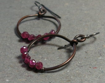 Pink Tourmaline Earrings Copper Hoop Wire Wrapped Oxidized Sterling Silver Earrings Gift for Her