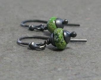 Gaspeite Earrings Petite Minimalist Simple Oxidized Sterling Silver Apple Green Gemstone Rustic Earrings