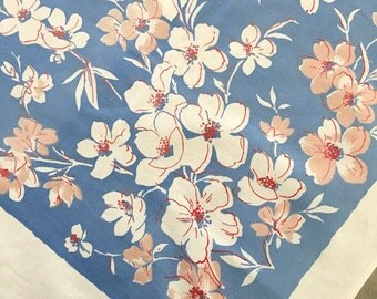 "Periwinkle White floral bouquet table cloth 49"" x 51"" border vintage/retro shabby/cottage chic"