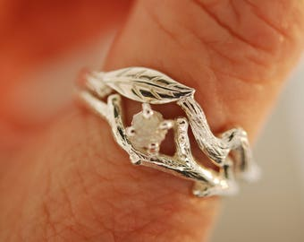For r0ff13c0p73Single Leaf with Bud Branch Set  with 4 mm moissanite,engagement ring, twig ring, branch ring, opal ring, engagement ring