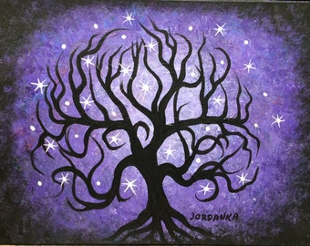 Original Acrylic painting, Curly purple TREE, stars by Jordanka Yaretz