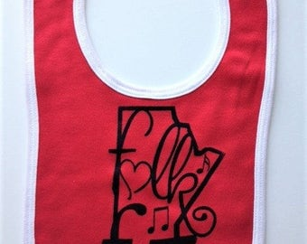 Winnipeg childrens bib of Folk Fest. Silk screened baby bib.