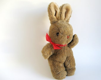 Vintage Easter Bunny Rabbit Stuffed Animal Applause Waving Bunny Brown Faux Fur 1980s Toy Red Polka Dot Satin Ribbon Orange Eyes