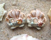 Peach Ocean Scallop Seashell PAIR - Set of 2 Beads - SRA Glass Lampwork