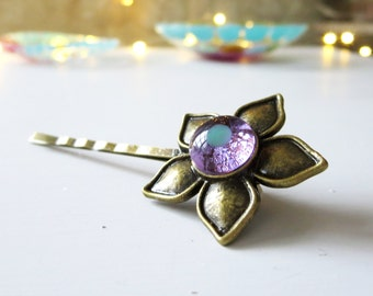 Flower Bobby Pin, Brass and Fused Glass Hair Accessory, Handmade Fused Glass Jewellery, Purple and Mineral Green on Brass
