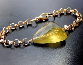 Lemon Quartz Bracelet, Yellow Stone, Gold Chain Bracelet, Chunky Jewelry