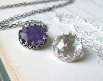 Crown Pendant with Amethyst or Quartz Crystal Gemstone in Sterling Silver Necklace Perfect Wedding Brides Necklace or Bridesmaid necklace