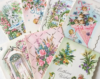 Vintage All Occasion Floral Cherub Greeting Cards Scalloped Edge Blank Unused