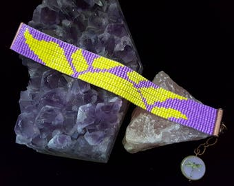Sunny purple and yellow copper bracelet