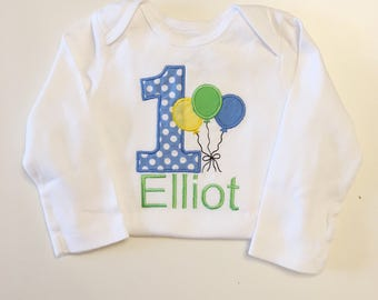Balloon 1st Birthday Bodysuit Shirt- Blue, Green & Yellow- Personalized Baby Boy