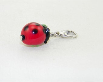 Handmade ladybug lampwork lobster claw charm for link bracelets and necklaces, Clip on charm, Purse charm, Backpack charm, Zipper charm,Gift