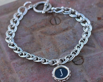 Typewriter Key Charm Bracelet, Personalized Initial J, Custom Gift Idea For Mom