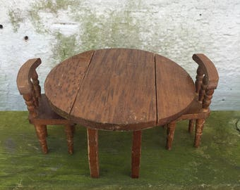 Miniature Concord Round Drop Leaf Table with 2 Chairs Vintage