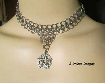 Magick Pentagram Chains Pentacle Chain Mail Necklace or Choker made with Stainless Steel Chainmaille Chain Mail Protection Witch Wicca