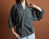 asymmetric woven kimono jacket / wrap jacket / cotton kimono / s / m / 856o / B22