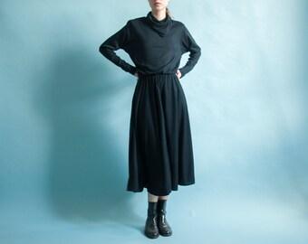 black turtleneck minimalist dress / black midi maxi dress / full skirt dress / s / 1350d / B3