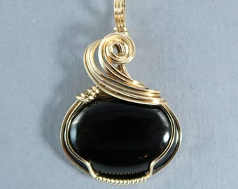 Black Onyx and 14k Gold Filled Wire Wrapped Gemstone Cabochon Pendant