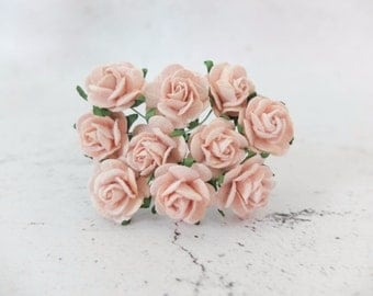 20mm blush pink mulberry roses - 2 cm paper flowers with wire stems