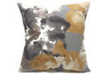 Decorative Pillow Cover Bold Modern Floral Design Same Fabric Front/Back Gray Gold Taupe White Black  18x18 inchx