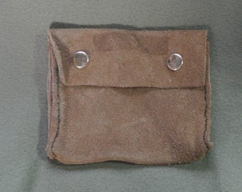 Suede Leather Belt Pouch Coin Purse-Handmade, Vintage