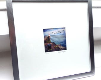 Amble, Northumberland coast - framed textile picture - limited edition 30cm square