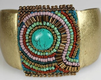 Antique Gold Beaded Cuff - Antique Look Embroidered Bracelet with Turquoise, Rust, Lavender, Blue and Gold Beads