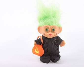 Vintage Troll, Halloween, Trick or Treating, Costume, Cat, Doll, Dressed, Russ, Norfin, Dam, Collectible ~ The Pink Room ~ 161002A