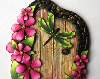 Dragonfly Fairy Door Pixie Portal Polymer Clay Miniature Door for Fairy Gardens and Home