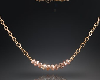CUSTOM made to Order - Delicate 14k Yellow Gold and Champagne Diamond Necklace