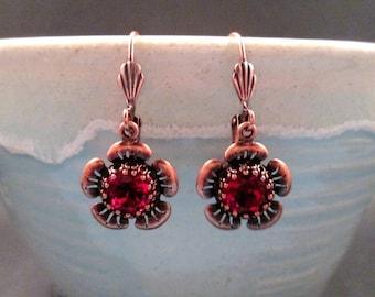 Rhinestone Flower Earrings, Red Glass Stones and Copper Dangle Earrings, FREE Shipping U.S.