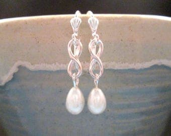 Pearl Drop Earrings, White Glass Pearls, Silver Dangle Earrings, FREE Shipping U.S.