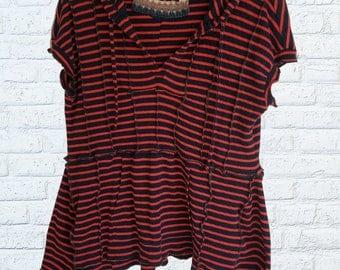 SALE Hooded Flare Shirt Ruffled Navy Blue Orange Large L