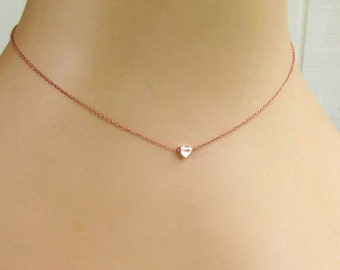 Tiny Rose Gold Heart Necklace Adjustable 16 to 18 inch - Perfect for Layering - Minimalist Jewelry
