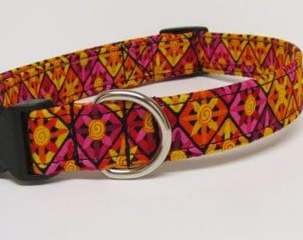 Pink, Orange, Yellow & Red Sunburst Printed Handmade Dog Collar