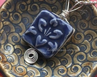 Pendant Stoneware Ceramic Wire Wrapped Cobalt Blue Lotus Flower Ready to Ship Great Stocking Stuffer PNT0021