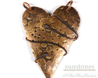 """Hand Forged Rustic Mixed Metal Heart Pendant Component PN305 """"the Hug"""""""