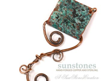 Reserve for Des - Hand Forged Rustic Copper Bail - DIY jewelry making components JC724