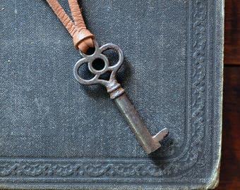 Antique Skeleton Key Necklace - Mens Key Necklace - Ornate Skeleton Key - Antique Key Necklace - Steampunk Key - Choose Your Cord Color