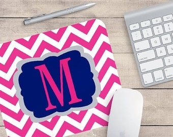 ON SALE Monogram chevron mouse pad - office decor - coworker gifts - employee gift - preppy gift - cubicle decor - desk accessories