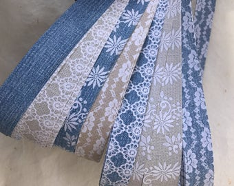 "3/4"" Weaving Star Paper~ Denim & Burlap Lace (50 strips)"